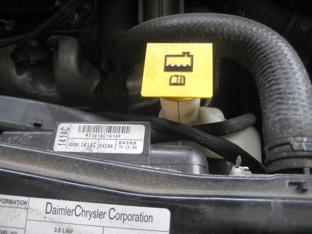 locate the coolant cap - check the coolant
