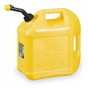 Gas can - Not only are diesel cans a different color most of the time, but the word diesel is printed on the outside.