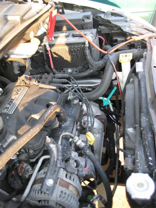 View of connections - dead car battery