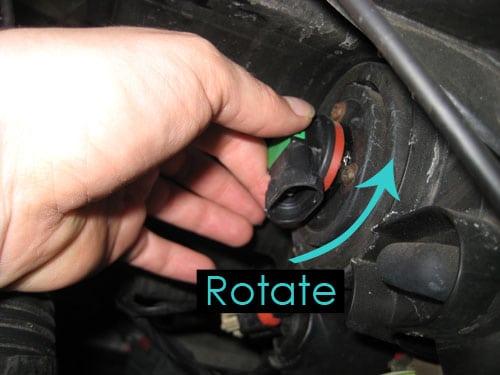 Rotate the bulb - change a headlight