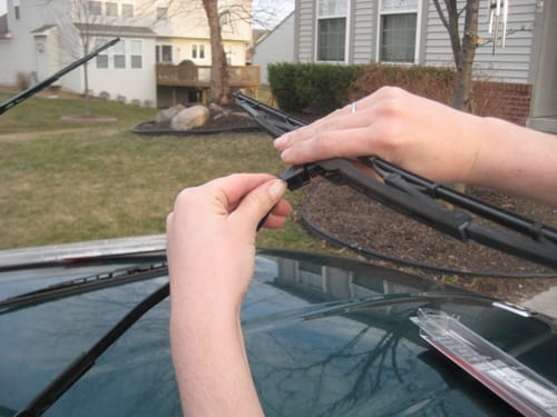 press the clip to release - replace wiper blades