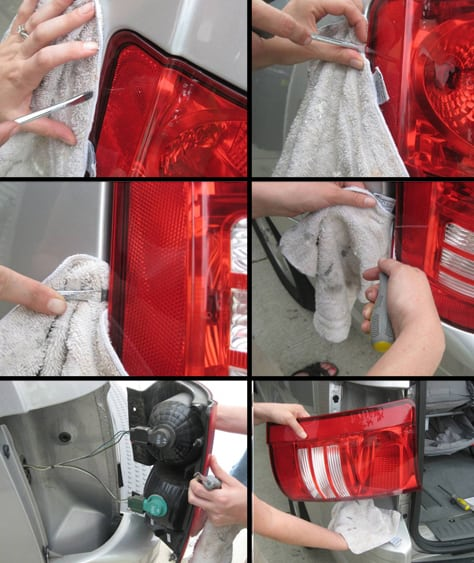 Carefully remove the tail light housing - sample of Town and County Mini Van