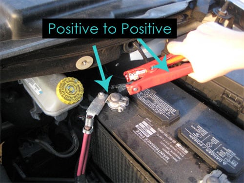positive to positive - dead car battery