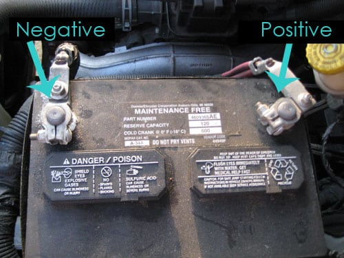locate the battery - dead car battery