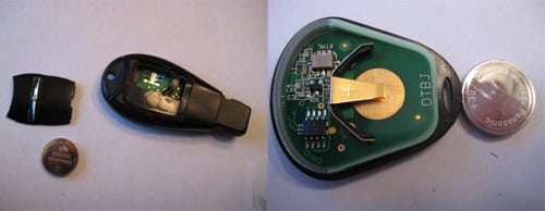 Slide the old battery out of the key remote and replace it with the new battery