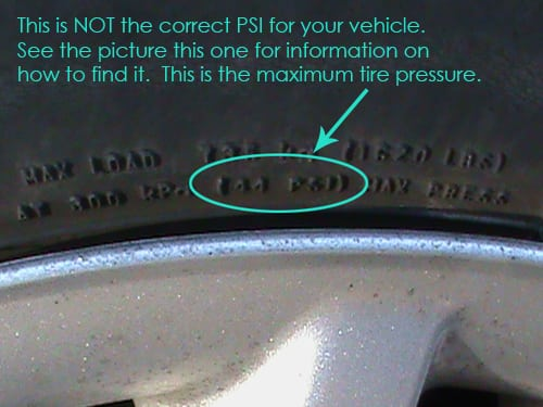 PSI - check tire pressure
