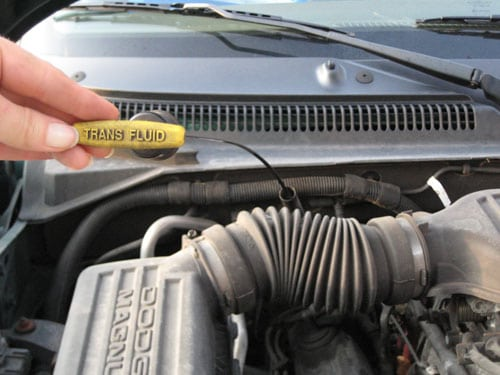 Pull the dipstick out - check transmission fluid