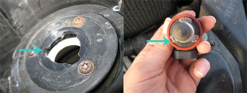 Make sure the bulb lines up - change a headlight